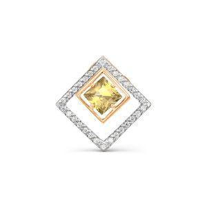 Подвеска-бегунок красное золото Квадрат аметист, фианиты