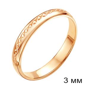 Кольцо обручальное красное золото алм.грань 3мм