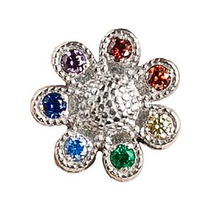 Сувенир серебро Цветик-семицветик цветные фианиты