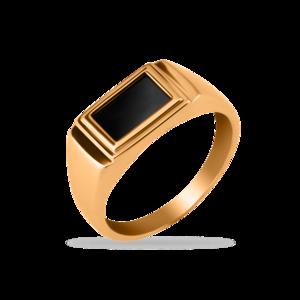 Печатка красное золото Прямоугольник оникс