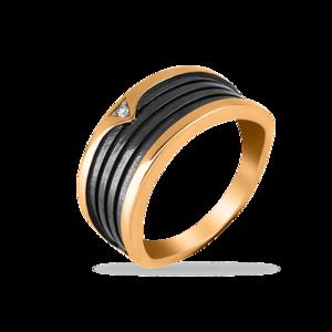 Кольцо красное золото Геометрия фианит, черн.
