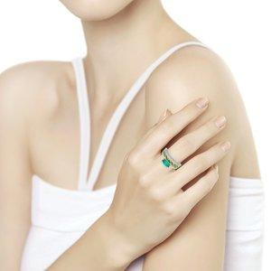 Кольцо серебро Классическое зел.агат, зел.эмаль, фианиты родир.
