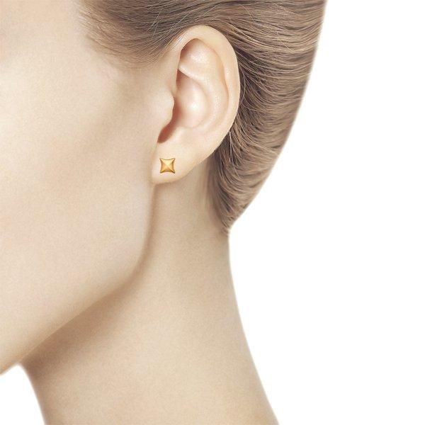 Серьги-пусеты красное золото Геометрия