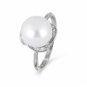 Кольцо белое золото Фантазия жемчуг