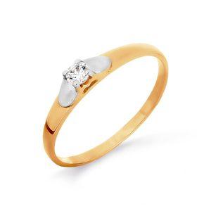 Кольцо красное золото Помолвочное фианит