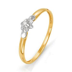 Кольцо Классическое красное золото Флора бриллиант
