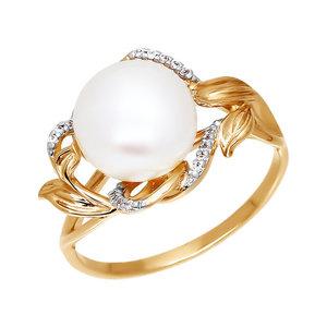 Кольцо красное золото Классический жемчуг