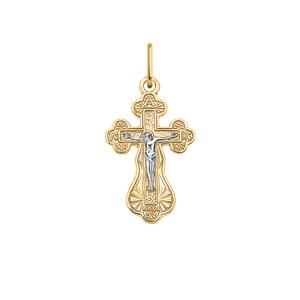Крест красное золото Классический родий