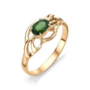 Кольцо красное золото Флора изумруд
