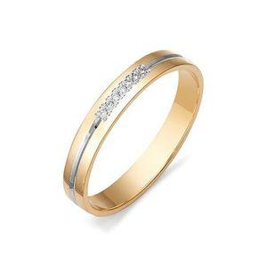 Кольцо обручальное красное золото бриллианты