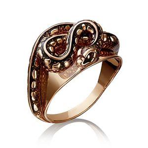 Кольцо красное золото Змея эмаль