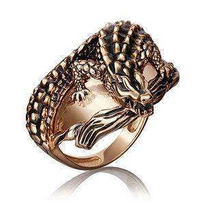Кольцо красное золото Крокодил чёрн.эмаль
