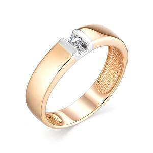 Кольцо обручальное красное золото Классическое бриллиант