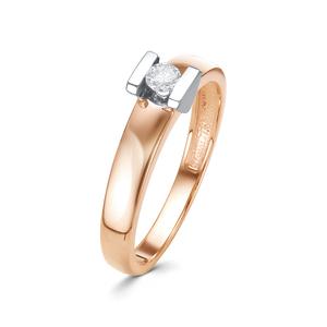 Кольцо красное золото Геометрия бриллиант