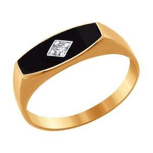 Печатка красное золото Геометрия эмаль, фианит