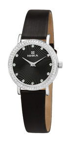 Часы Nika Слимлайн серебро кварцевые ремень черный 14мм