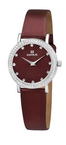 Часы Nika Слимлайн серебро кварцевые ремень красный 18мм