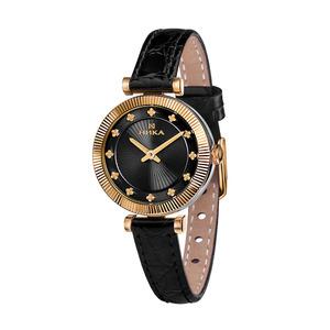 Часы Nika LADY биметалл кварцевые ремень чёрный 10 мм