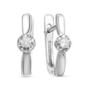 Серьги белое золото Классический бриллиант