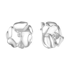 Серьги серебро Цветок бриллианты