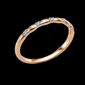 Кольцо красное золото Геометрия фианиты