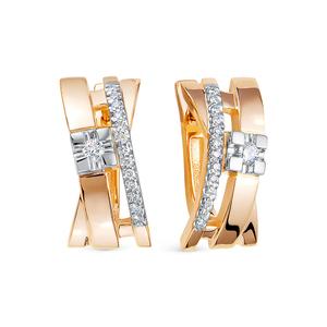 Серьги красное золото Геометрия бриллиант
