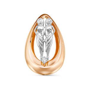 Подвес красное золото Фантазия бриллиант