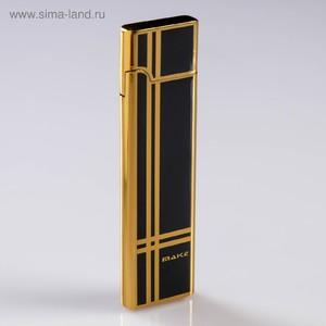Зажигалка электронная, USB, спираль, узкая, чёрно-золотистая