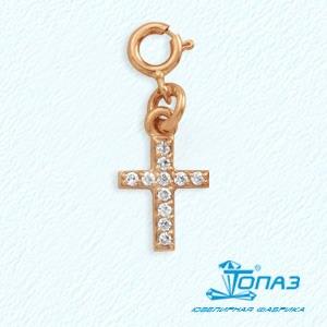 Подвеска на браслет красное золото Крест декор. фианиты