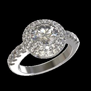 Кольцо серебро Круг фианиты