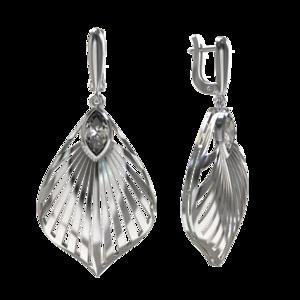 Серьги серебро с подв эл Фантазия фианит