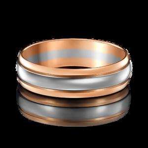 Кольцо обручальное комбинированное золото