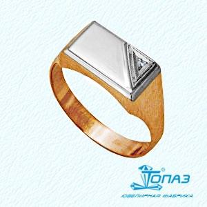 Печатка красное золото Прямоугольник фианит