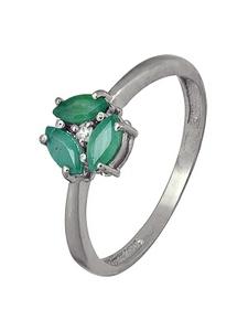 Кольцо серебро цветок фианит