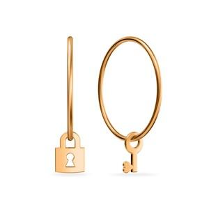 Серьги-конго красное золото с подвес.  эл. Ключ и Замок d22