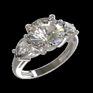 Кольцо серебро Классический фианиты