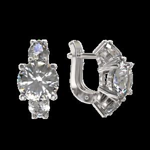 Серьги серебро Классический фианиты