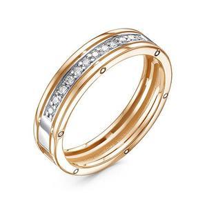 Кольцо обручальное красное золото Дорожка бриллианты