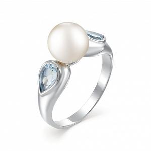 Кольцо серебро Классический жемчуг, топаз