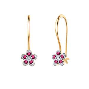 Серьги детские красное золото Цветы роз. фианиты