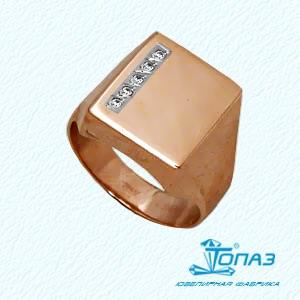 Печатка красное золото Квадрат фианиты