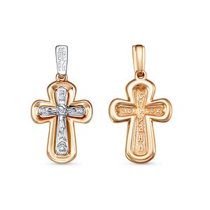 Крест красное золото Классический с накладкой родий