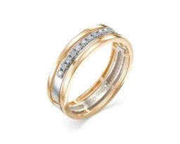 Кольцо обручальное комбинированное золото бриллианты
