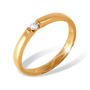 Кольцо обручальное красное золото бриллиант
