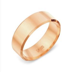 Кольцо обручальное красное золото Плоское