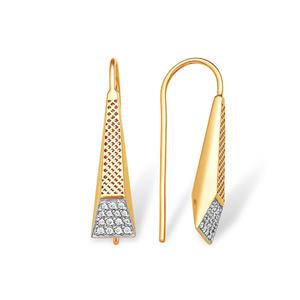 Серьги-протяжки красное золото Геометрия фианиты
