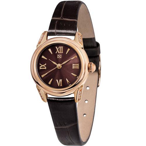 Часы Nika золото фианиты кварцевые ремень бордовый 8мм