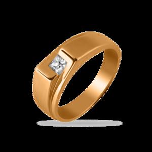 Печатка красное золото Геометрия фианит