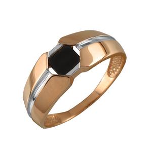 Кольцо мужское красное золото Ромб оникс