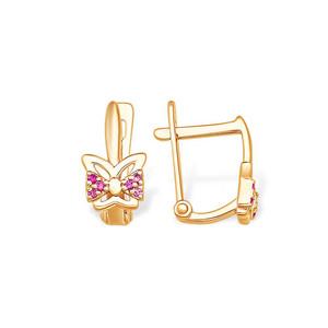 Серьги красное золото Бабочка фианиты